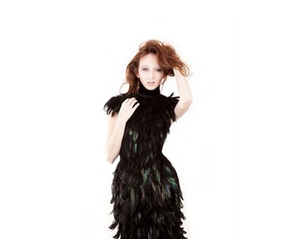 High Fashion Couture Black Iridescent Feather Dress