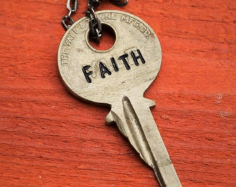 "Hand Stamped Vintage Key ""FAITH"" Necklace (#474) - Jewelry Necklace Pendant Custom"
