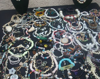 Big lot of vintage costume jewelry beachy summer surfer ocean pieces lots of shell