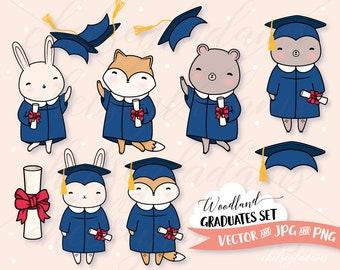 Graduation Clipart Set, Woodland Animals, Vector Clip Art, Cute Bear, Fox, Bunny, Commercial Use Graphics, Kawaii, Blue Cap and Gown, Grads