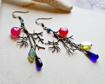 Colorful Copper Dangle Earrings, Copper Branch Earrings, Brass Gemstone Dangle:  Ready Made