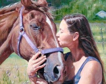 """Honey Kisses, custom oil painting Pet Portraits Horse Portrait, 12x12"""" (pet&person)"""