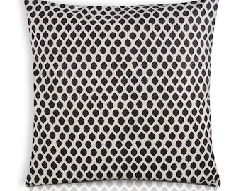 Black and White Dots Cotton Pillow Cover - Decorative Throw Pillow - Indigo and White Block Printed Cotton Cushion Cover