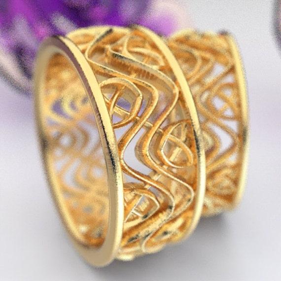 Wedding Ring Set With Celtic Dara Interwoven Knotwork Design in 10K 14K 18K Gold, Palladium or Platinum Made in Your Size CR-642