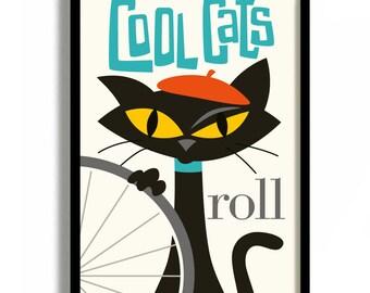 Bicycle Art Print Gift Idea Bicycle Lover Gift Black Cat Bike Art Decor Mid Century Modern Design Bike Sign Poster Art Print Pet Cat Artwork