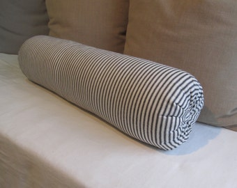 8 x 30 inch super long daybed bolster pillow in 100% cotton black and white ticking