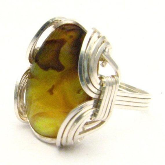 Handmade Sterling Silver Wire Wrap Yellow Paua Gemstone Ring