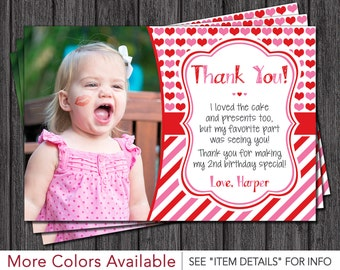 Valentine's Day Thank You Card - Valentines Day Birthday Thank You Cards