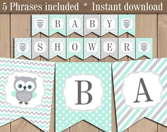 Mint and Gray Owl Baby shower Banner. Welcome Baby Banner printable. Gender reveal Neutral Baby shower Girl Boy. Banner download