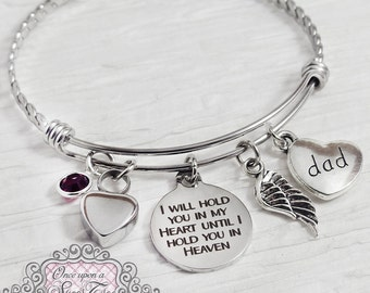 URN BRACELET, Cremation Bracelet- Loss of Dad Bracelet, Remembrance, Mom Memorial, Loss of Daughter, Hold you in my heart, Wing, Bereavement