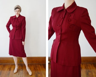 1940s Maroon Gabardine Suit - M