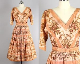 1950s Peach Taffeta Rose Print Pleat Dress - Small