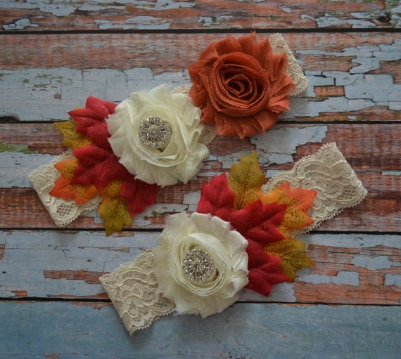Items Similar To Wedding Garter, Fall Wedding Garter Set