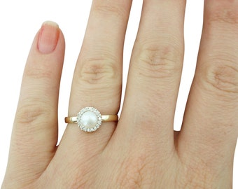 Pearl Engagement Ring, Pearl and Diamond Ring, Gifts for Her, June Birthstone Ring, Wedding Engagement, Pearl Ring, Fast Free Shipping