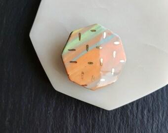 Hexagon brooch, geometric ceramic brooch, handmade, black clay, colourful slip, gold lustre triangle detail