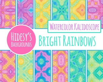 Bright Rainbow Watercolor Digital Paper Set / Water Color Digital Backgrounds / Backdrops (Commercial Use)