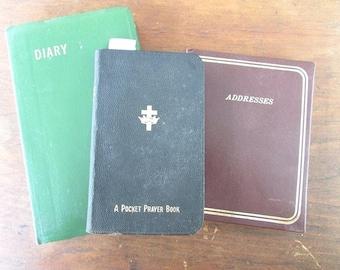 Three Small Books Diary Addresses Book And A Pocket Prayer Book Vintage Office Supply Paper Ephemera