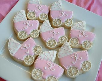 Baby Shower Cookies - baby stroller cookies - 1 dozen Baby carriage favors - Personalized cookies - baby girl cookies - baby boy cookies