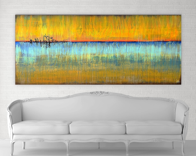 Featured listing image: Sunrises And Blue Skies Original Painting By Artist Rafi Perez Mixed Medium on Canvas 8Ft