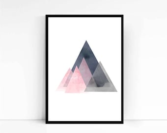 Watercolor painting, Triangles art, Abstract watercolor, Geometric art, Abstract print, Large wall art Mountains print, Pink art, Pink print