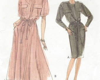 1990s Womens Blouson Dress Slim or Flared Skirt Short or Long Sleeves Vogue Sewing Pattern 7714 Size 8 10 12 Bust 31 12/ to 34 FF