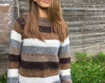 Mohair sweater Women's sweater Brown sweater Men's sweater Made to order