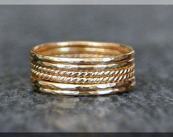 Set of 6 Ultra Thin 14k Gold Filled Stacking Ring, Twisted 14k gold filled ring, Delicate gold filled ring, Dainty Hammered stacking ring