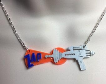 laser cut layered acrylic 'Zapping' ray gun...B movie/Sci-Fi necklace