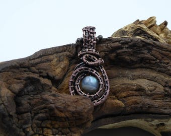 Dainty Labradorite Necklace, Heady Wire Wrap, Circle Necklace, Woven Pendant, Wire Wrapped Jewelry, Gift for Sister