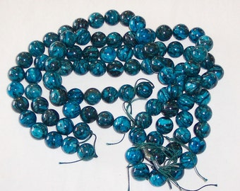 Deep turquoise blue and black marble swirl glass beads 16mm
