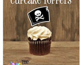 Yo Ho Pirate Party - Set of 12 Pirate Flag Cupcake Toppers by The Birthday House