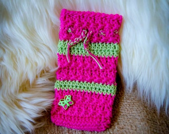 Handmade Crocheted Cell phone case with butterfly button.