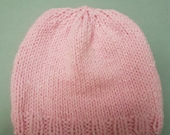 Hand knitted pink glittery baby hat 0-3 months
