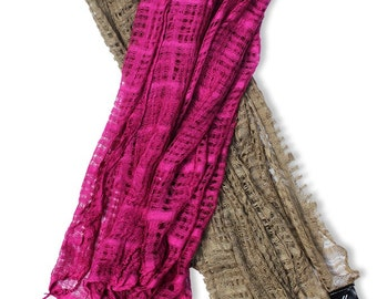 Loose Weave Hand Dyed Cotton Scarves | One set of 2 Coordinating Colors, 1 for You and Gift for Her