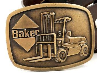 Vintage Forklift Belt Buckle — Baker Forklift Buckle for Snap Belts — Collectible Heavy Construction Buckle — Union Buckle Labor Belt Buckle