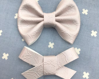 Mist Holographic Lace vegan leather bow