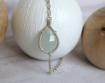 Aquamarine Bracelet - Silver Bracelet - Blue Dainty Bracelet - Beach Jewelry - Everyday Jewelry -Birthday Gift  -