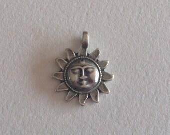 Silver Sun charm pendant
