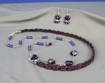 Jewelry set, Purple & blue lariat necklace with glass beads and free-form wire links, asymmetrical, braid, silver plated wire and findings