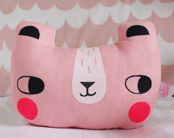 Linen Bear Cushion Pink Kids Pillow