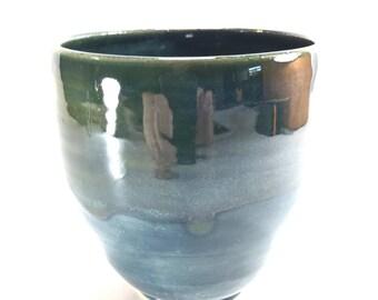 Handmade Pottery Servimg Bowl, Pottery Rice Bowl, Blue Green And Grey Ceramic Bowl, wheel thrown pottery, Handmade Pottery