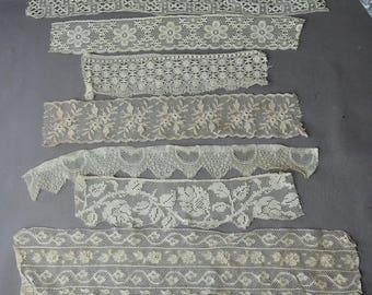 Vintage Antique Lace Remnants Lot Early 1900s 7 pieces Edwardian Ivory White Cotton Lace Trim Clothing remnants