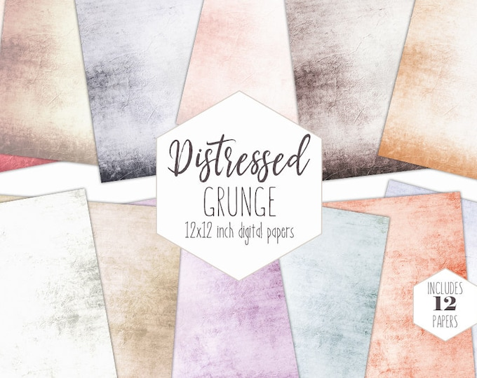 PASTEL GRUNGE Digital Paper Pack Antique Distressed Backgrounds Peach Scrapbook Papers Antique Textures Vintage Printable Wedding Clipart