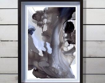 Abstract Watercolor Art Print - Original Design - Fine Art Custom Painting - Midnight Bloom A - 13x19 / 17x22 / 20x30