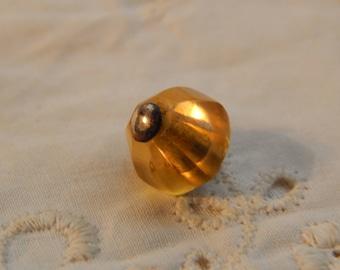 Amber Yellow Glass Pinshank Button