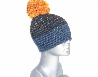 Blue and Black Chunky Beanie with Gold Pom, Black Tweed Crochet Hat, Navy and Yellow/Orange Winter Beanie With Puff, Pom Pom Knit Ski Hat