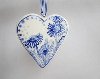 Porcelain  Heart -  Blue and white Delft Blue Wall hanging/ornament-  daisy