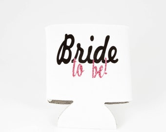 Bride-to-be Can Coolies - Can Cooler Sleeve for Just Engaged - New Bride Gift