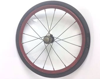 """Solid Rubber 16"""" Metal Spokes Wheel Buggy Cart Bicycle Wagon Steampunk Decor Vintage"""