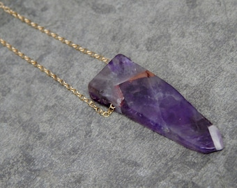 Gold gemstone layering amethyst necklace - long amethyst pendant -  Gold Filled stone slice jewelry
